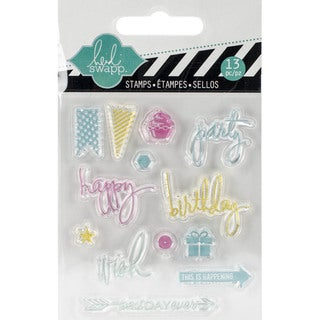 "Heidi Swapp Mixed Media Clear Mini Stamps 3""X3.5""-Party"