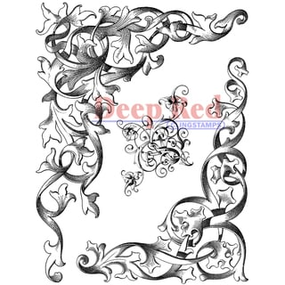 "Deep Red Cling Stamp 4""X5.25""-Wrought Iron Corners"
