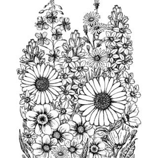 "Crafty Individuals Unmounted Rubber Stamp 4.75""X7"" Pkg-A Garden Of Flowers"