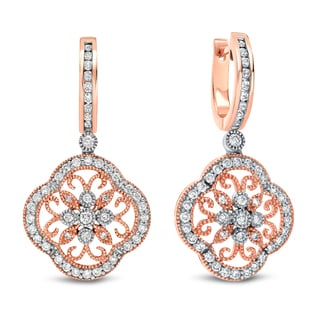 Auriya 14k Rose Gold 1 1/2ct TDW Vintage Diamond Earrings (H-I, SI1-SI2)