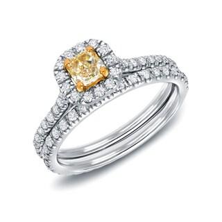 Auriya 14k White Gold 1ct TDW Fancy Yellow Cushion-Cut Diamond Halo Engagement Ring Set