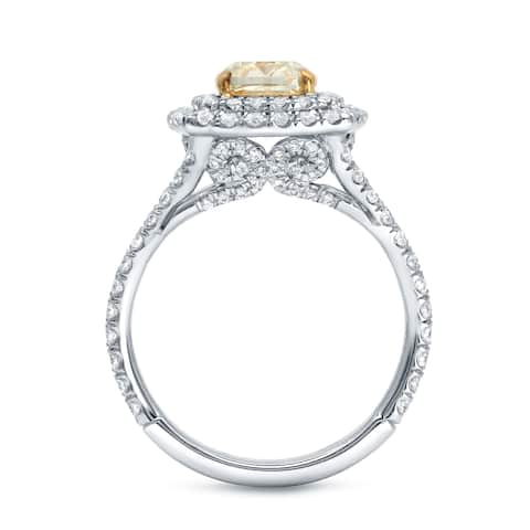 Auriya 2 1/4 carat Fancy Cushion Cut Yellow Diamond Engagement Ring 18K Two-Tone Gold Certified