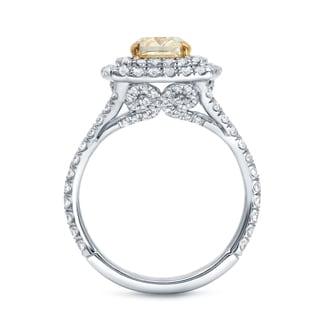 Auriya 18k Two-tone Gold 2 1/4ct TDW Certified Fancy Yellow Cushion-cut Diamond Ring