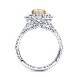 Auriya 18k Two-tone Gold 2 1/4ct TDW Fancy Yellow Certified Cushion-cut Diamond Halo Engagement Ring