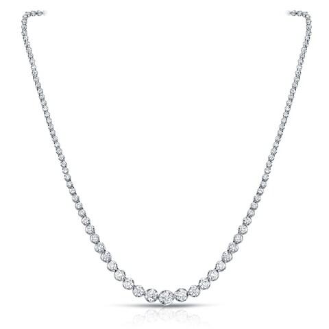 Auriya 18k White Gold 13ct TDW Diamond Riviera Graduating Tennis Necklace