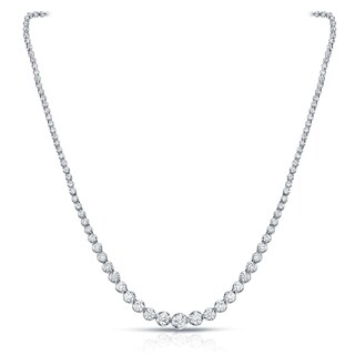 Auriya 18k White Gold 13ct TDW Diamond Riviera Graduating Tennis Necklace