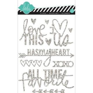 "Heidi Swapp Mixed Media Glitter Stickers 5""X7""-Silver, Love"
