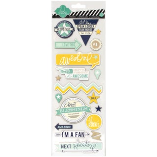 """Heidi Swapp Mixed Media Chipboard Stickers 4.5""""X12"""" Sheet-Awesome"""