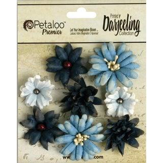 "Darjeeling Teastained Mini Mix Flowers .75"" To 1.5"" 8/Pkg-Blue"