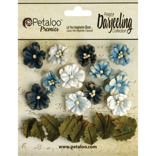 "Darjeeling Teastained Petite Flowers .625"" & .875"" 24/Pkg-Blue"