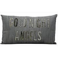 kathy ireland Goodnight Angels Silver/Grey Throw Pillow (12-inch x 22-inch) by Nourison