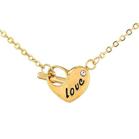 ELYA Stainless Steel 'Love' Cubic Zirconia Heart Necklace