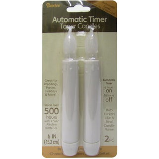 "LED Taper Candle 6"" W/Timer 2/Pkg-White"