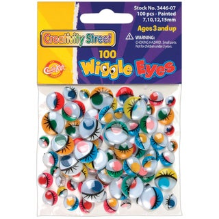 Paste-On Wiggle Eyes Assorted 7mm to 15mm 100/Pkg-Painted