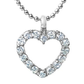 ELYA Stainless Steel Cubic Zirconia Heart Pendant Necklace