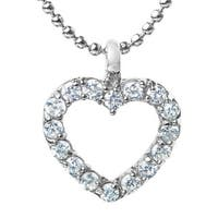 ELYA Stainless Steel Cubic Zirconia Heart Pendant Necklace