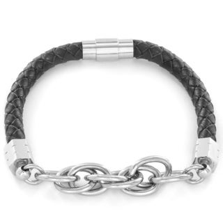 Men's Woven Leather Stainless Steel and Twisted Chain Link Bracelet