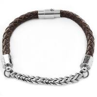 Men's Woven Leather and Stainless Steel Franco Chain Bracelet