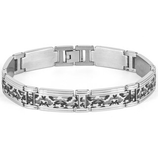 Men's Titanium Laser-cut Black and Grey Camouflage Men's Link Bracelet