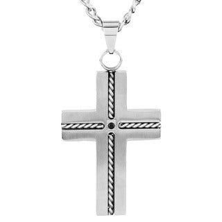 Crucible Stainless Steel Rope with Black Cubic Zirconia Cross Pendant Neckalce