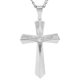 Crucible High Polish Stainless Steel Cross with Cubic Zirconia Pendant Necklace