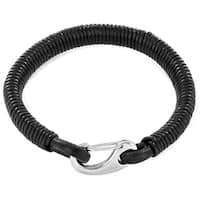 Crucible Black Coiled Genuine Leather Stainless Steel Clasp Bracelet