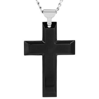 Crucible Black-plated Stainless Steel Cross Pendant Necklace