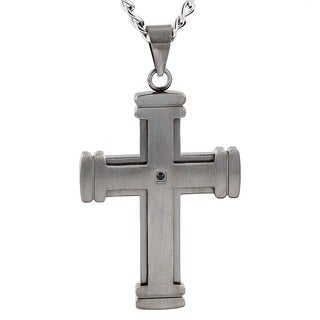Crucible Stainless Steel Layered Antiqued Cross with Black Cubic Zirconia Pendant Necklace