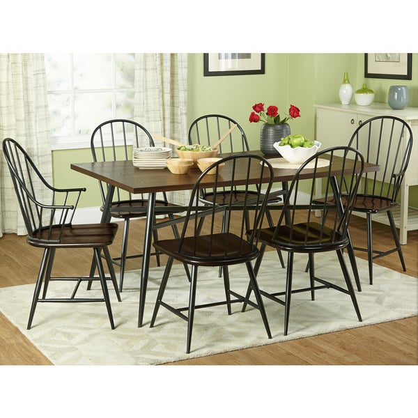 Nelson Industrial Modern Cross Back 7 Piece Dining Set Nelson