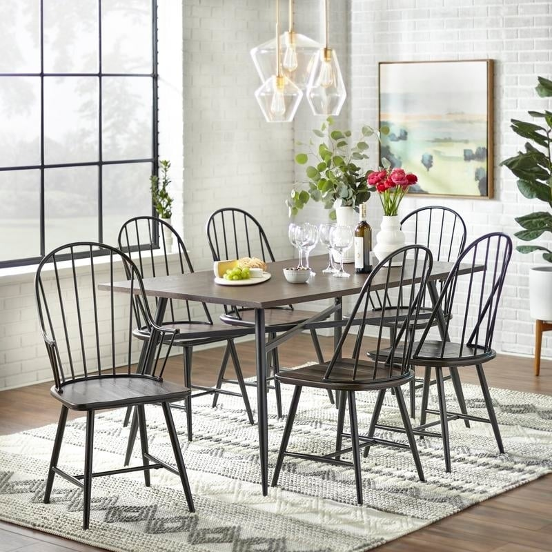 Simple Living Milo 7-piece Mixed Media Dining Set (Black/...
