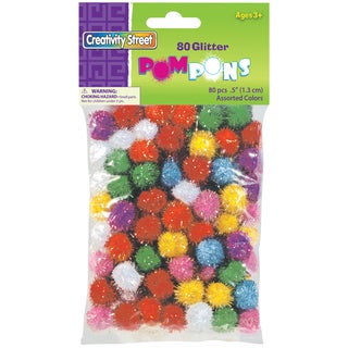Pom-Pons Glitter Pack 80/Pkg-Assorted Colors & Sizes