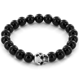 Crucible Stainless Steel Skull and Onyx Bead Bracelet