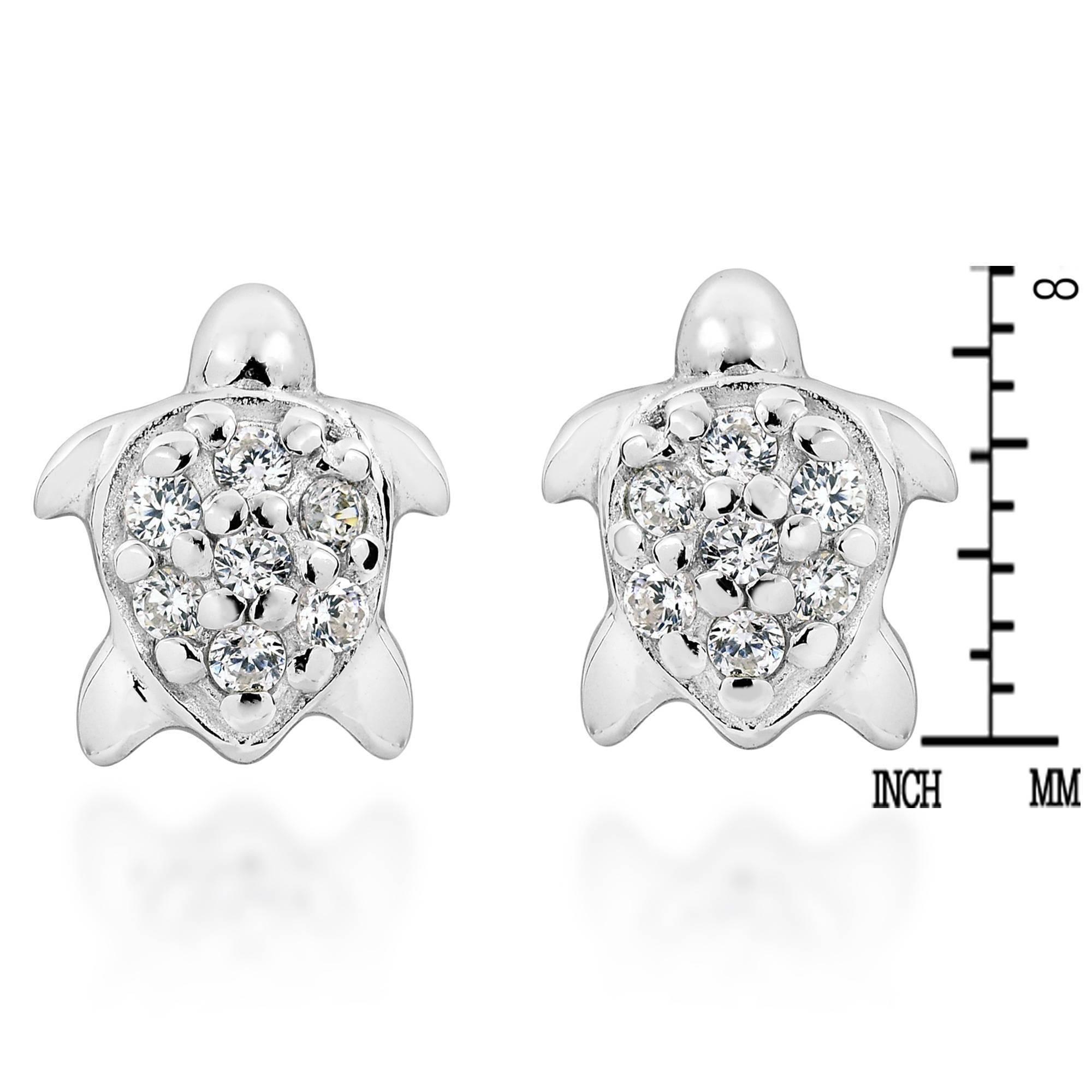 Mini Sea Turtle Cubic Zirconia Adorned .925 Sterling Silver Stud Earrings