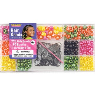 Large Hair Bead Kit-Bright Pearl