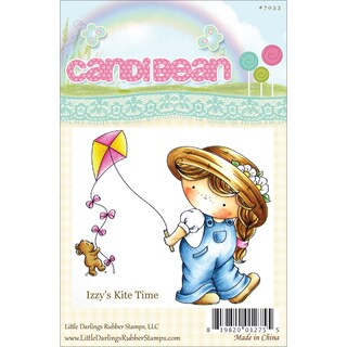 """CandiBean Cling Mounted Rubber Stamp 3.275""""X3.555""""-Izzy's Kite Time"""