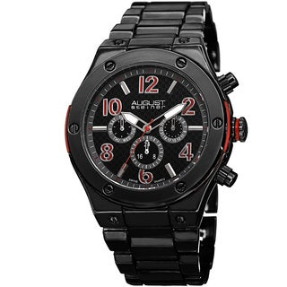 August Steiner Men's Swiss Quartz Multifunction Red Bracelet Watch
