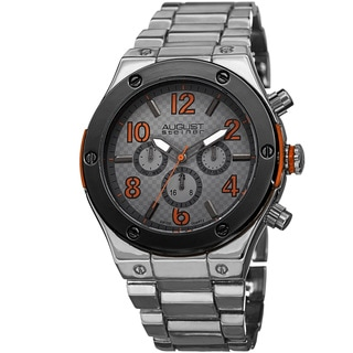 August Steiner Men's Swiss Quartz Multifunction Orange Bracelet Watch