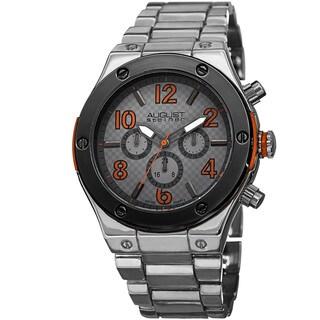 August Steiner Men's Swiss Quartz Multifunction Orange Bracelet Watch