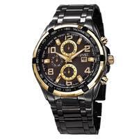 August Steiner Men's Swiss Quartz Multifunction Tachymeter Black Bracelet Watch
