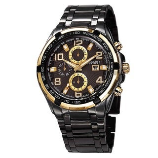 August Steiner Men's Swiss Quartz Multifunction Tachymeter Black Bracelet Watch