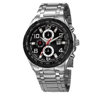 August Steiner Men's Swiss Quartz Multifunction Tachymeter Silver-Tone Bracelet Watch