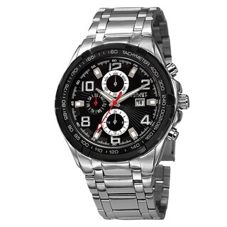 August Steiner Men's Swiss Quartz Multifunction Tachymeter Silver-Tone Bracelet Watch with FREE GIFT