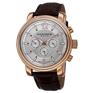 Akribos XXIV Men's Swiss Quartz Multifunction Leather Rose-Tone Strap Watch