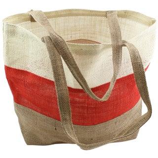 """Burlap Bag 17.5""""X13""""X5.5""""-Ivory, Red And Natural"""