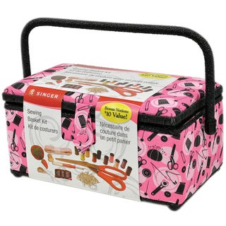 """Sewing Basket-11.5""""X6""""X6.5"""" Pink Notions"""