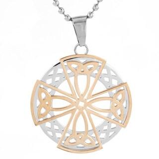 Men's Stainless Steel Celtic Cross Medallion Pendant Necklace