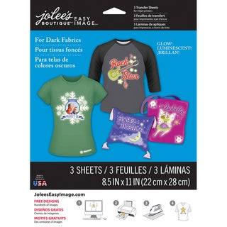 "Jolee's Easy Image Transfer Sheets 8.5""X11"" 3/Pkg-Glow-In-The-Dark For Dark Fabrics"