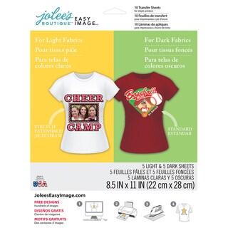 """Jolee's Easy Image Transfer Sheets 8.5""""X11"""" 10/Pkg-For Light & Dark Fabrics"""