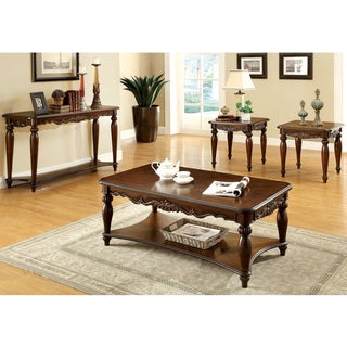 Furniture of America Macelli 4-Piece Traditional Cherry Accent Table Set