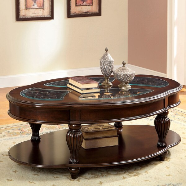 Furniture Of America Zerathe Dark Cherry And Glass Top Coffee Table Free Shipping Today